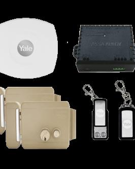 Cerradura eléctrica Yale Connect, con botón, izquierdo, kit control remoto